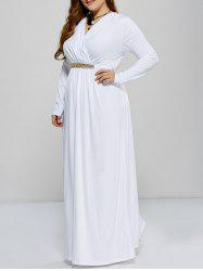 Plus Size Maxi Surplice Long Sleeve Prom Dress -