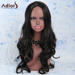 Faddish Long Wavy Black Centre Parting Women's Synthetic Wig