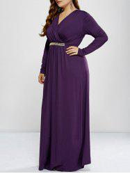 Plus Size Surplice Maxi Prom Dress with Sleeves