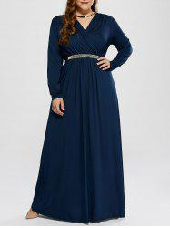 Plus Size Surplice A Line Formal Maxi Prom Dress with Sleeves