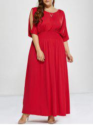 Plus Size Long Cold Shoulder Maxi Prom Dress - RED 3XL