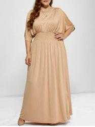 Plus Size Shirred Cut Out Maxi A Line Formal Prom Carpet Dress