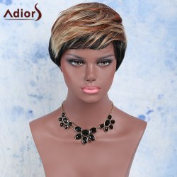 Mixed Color Short Fluffy Full Bang Fashion Women's Adiors Synthetic Hair Wig