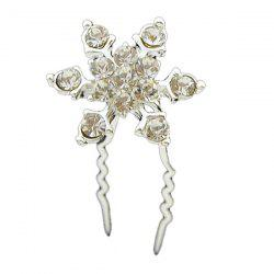 Rhinestone Floral Alloy Hairpin - WHITE