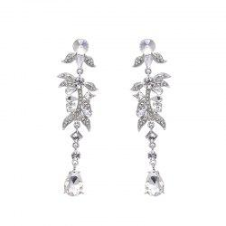 Rhinestone Leaf Teardrop Earrings - SILVER