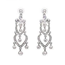 Rhinestone Heart Chandelier Earrings -