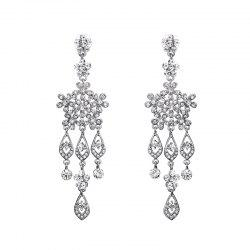 Rhinestone Snowflake Chandelier Earrings