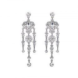 Rhinestone Flower Teardrop Chandelier Earrings - SILVER