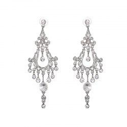 Chandelier Rhinestone Earrings - SILVER