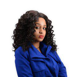 Long Centre Parting Curly Synthetic Wig - BLACK