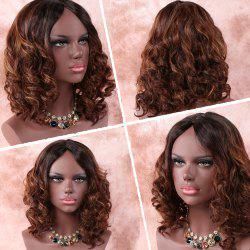 Medium Asymmetric Curly Middle Part Brown Mixed Synthetic Wig -