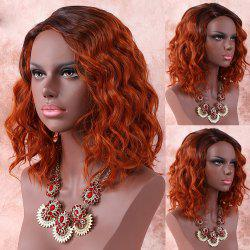 Medium Side Parting Color Mixed Wavy Synthetic Wig -