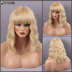 Siv Hair Medium Full Bang Wavy Real Natural Hair Wig