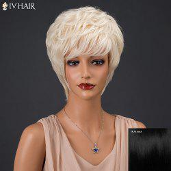 Siv Hair Short Fluffy Full Bang Slightly Curled Real Natural Hair Wig
