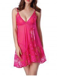 Sheer Floral Lace Panel Mesh Babydoll Sleepwear - HOT PINK