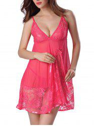 Sheer Floral Lace Panel Mesh Babydoll Sleepwear
