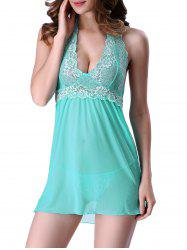 Transparent Lace Panel Backless Halter Babydoll Sleepwear - TIFFANY BLUE