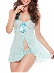 Open Front Lace Panel Halter Babydoll - MINT