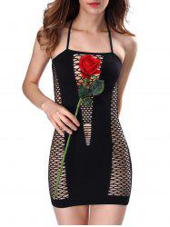 Fishnet Mini Babydoll - BLACK