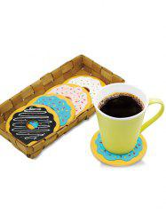 4PCS Cartoon Thermal Insulation Table Doughnut Coasters - COLORMIX