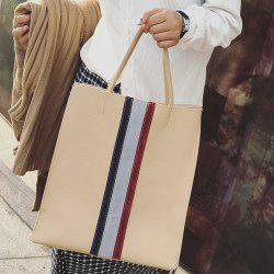 Stripe Panel Tote Shoulder Bag