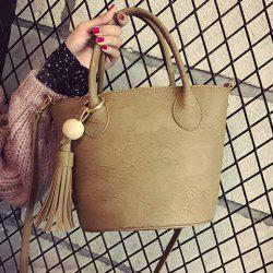 Drawstring Tassels Bucket Bag