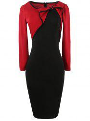 Long Sleeve Bowknot Color Block Pencil Dress - RED 2XL
