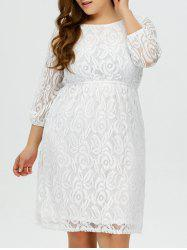 Plus Size Lace Floral Prom Wedding Dress