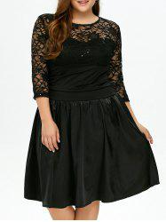 Plus Size  Lace Insert Knee Length Dress -