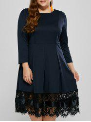 Plus Size Ruched Lace Trim Long Sleeve Dress -