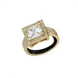 Rhinestone Square Adjustable Ring