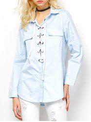 Long Sleeve Lace-Up Blouse