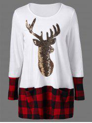 Sequined Reindeer Plaid Trim Christmas T-Shirt - WHITE M