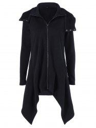 Zipper Up Asymmetrical Hooded Coat - BLACK