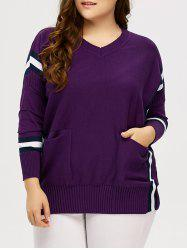 Plus Size Striped Trim Pockets Knitwear