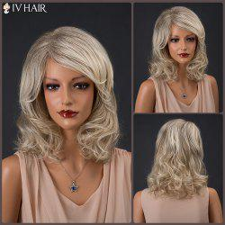 Medium Colormix Inclined Parting Shaggy Curly Siv Human Hair Wig -
