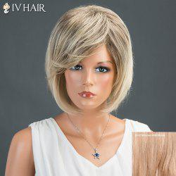 Layered Short Oblique Bang Straight Bob Siv Human Hair Wig - BROWN WITH BLONDE