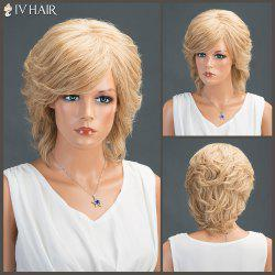 Layered Short Oblique Bang Slightly Curled Siv Human Hair Wig -