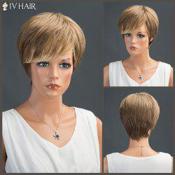 Short Side Bang Layered Straight Siv Human Hair Wig -
