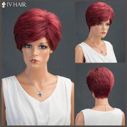 Short Fluffy Side Bang Layered Straight Siv Human Hair Wig