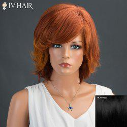 Short Fluffy Inclined Bang Layered Straight Siv Human Hair Wig -