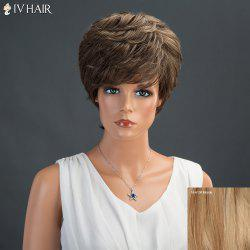 Short Layered Fluffy Side Bang Straight Siv Human Hair Wig