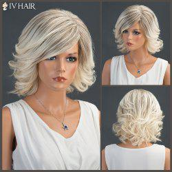 Short Tail Upwards Colormix Layered Fluffy Side Parting Siv Human Hair Wig -