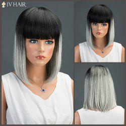 Medium Full Bang Straight Bob Siv Human Hair Wig -
