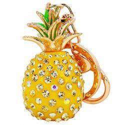 Rhinestone Pineapple Keyring - YELLOW
