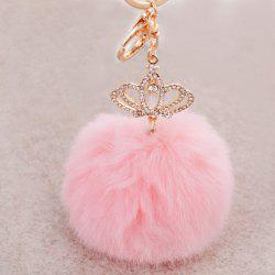 Rhinestone Crown Fuzzy Puff Ball Keyring - PINK