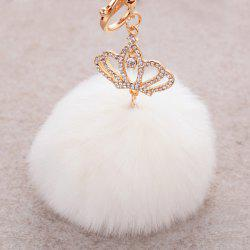 Rhinestone Crown Fuzzy Puff Ball Keyring - WHITE