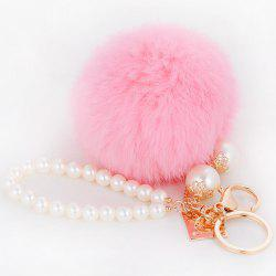 Faux Pearl Beaded Fuzzy Ball Keyring -