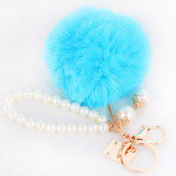 Faux Pearl Beaded Fuzzy Ball Keyring