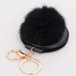 Mirror Fuzzy Puff Ball Keyring - BLACK
